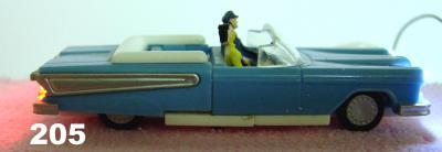 Modellauto,  blaues amerikanisches Cabriolet, 1:87