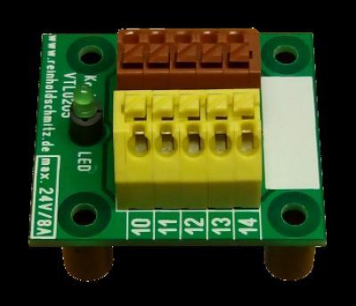 Verteiler-Klemme 2 x 5polig mit Kontroll-LED in gelb/braun